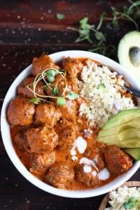Curried Grassfed Meatballs + Cauliflower Rice and Avocado