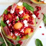 Fresh Melon Mint Caprese Salad + Pomegranate