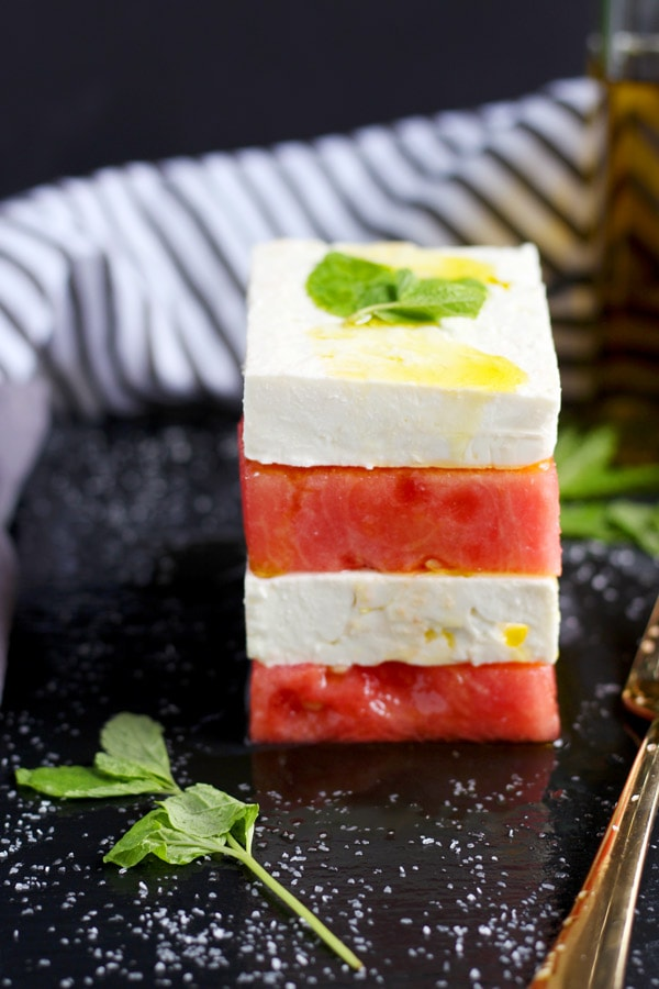 Watermelon + Feta Salad with Mint - thewoodenskillet.com