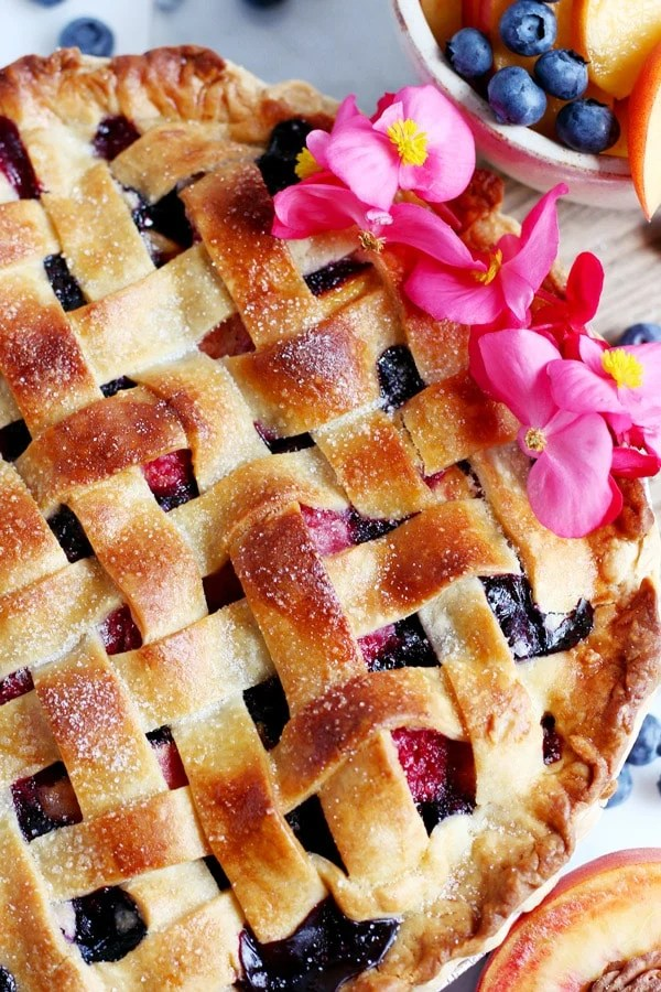 Peach, Raspberry and Blueberry Summer Pie