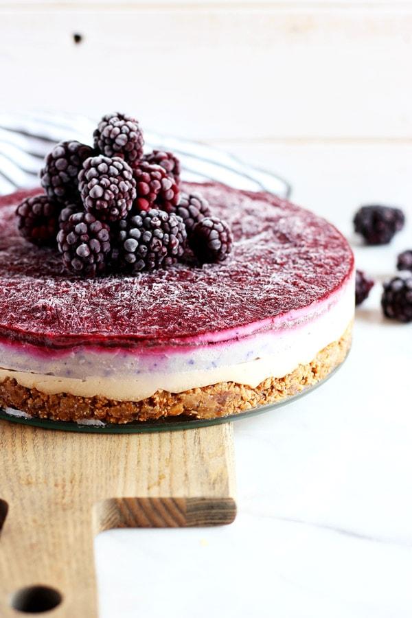 Blackberry Ginger Vegan Cheesecake
