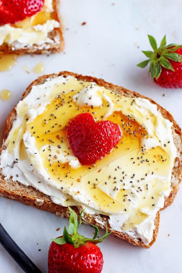 Strawberries and Cream Toast + Chia Seeds