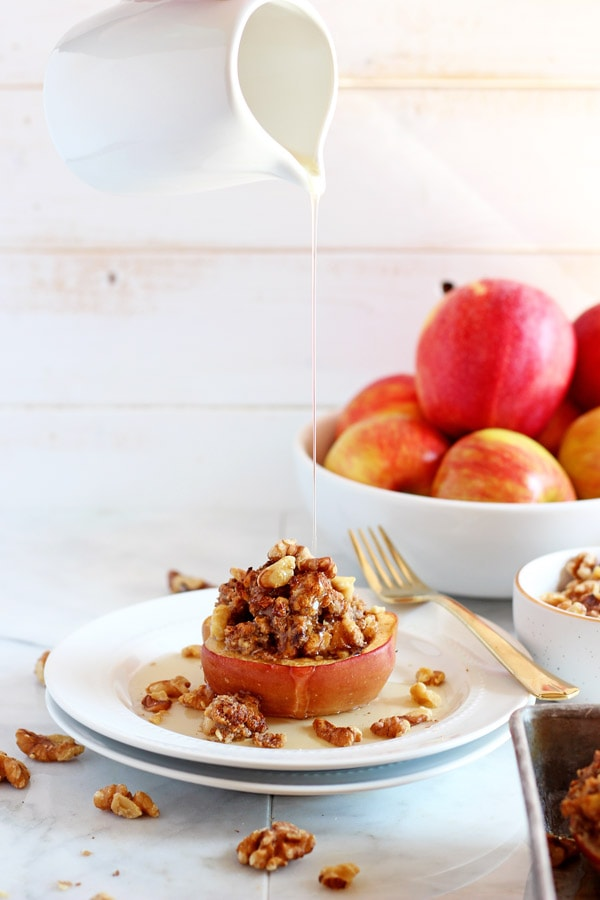 Vegan Twice Baked Maple Pecan Apples
