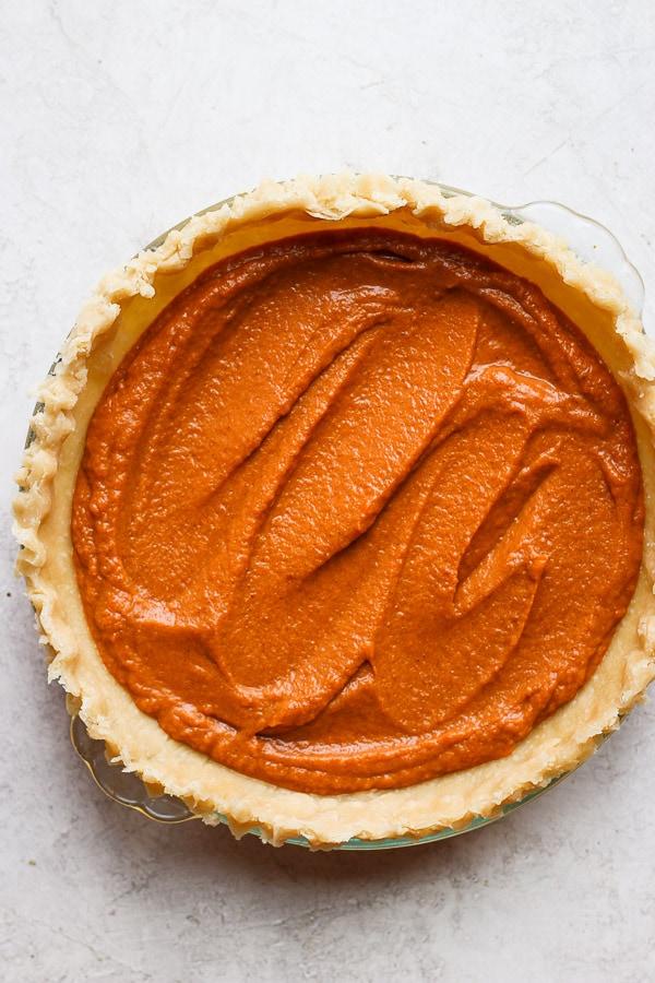 Uncooked pumpkin pie.