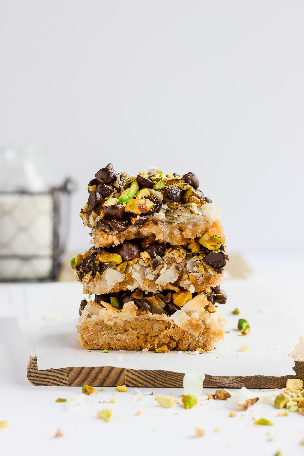 Pistachio Seven Layer Cookie Bars (Dairy-Free and Vegan) - a delicious and healthier version of the classic seven layer bar! #vegan #dairyfree