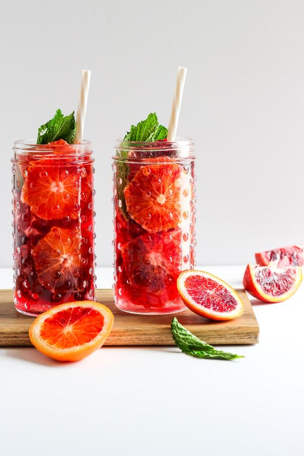 Refreshing Blood Orange and Mint Spritzers