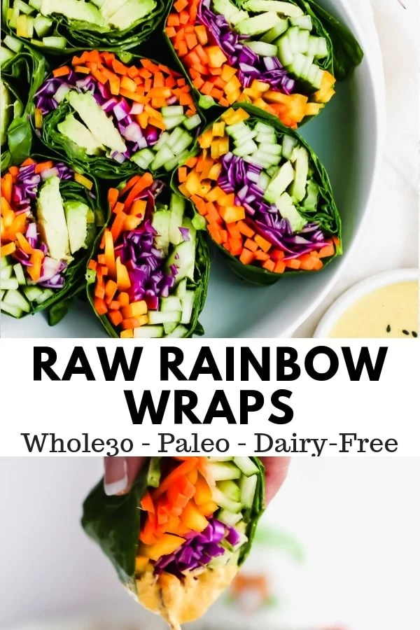 Raw Rainbow Wraps + Ginger Tahini Dressing