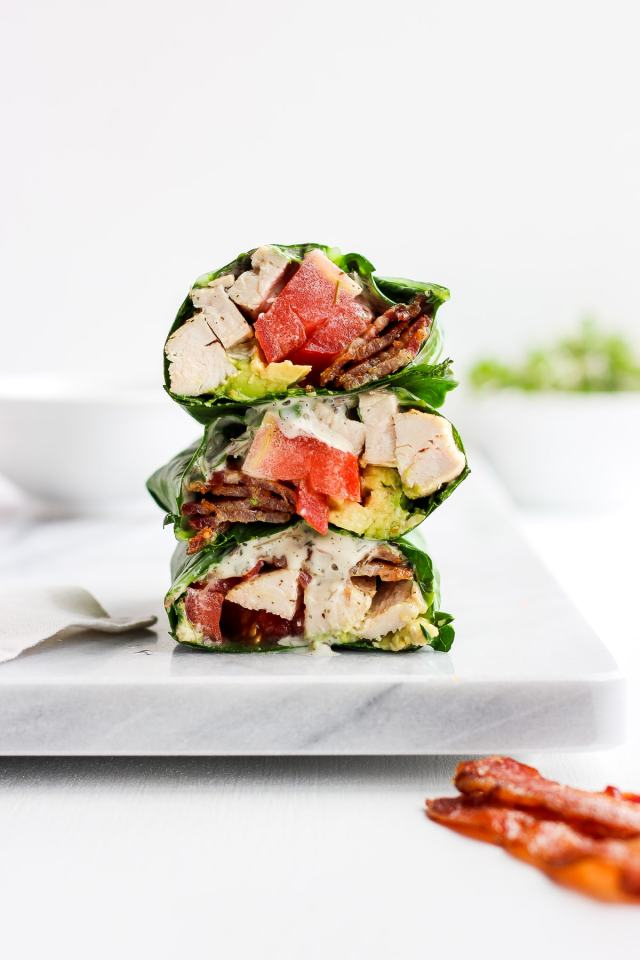Chicken Bacon Club Collard Green Wrap