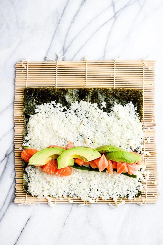 Spicy Salmon and Avocado Cauliflower Rice Sushi Roll