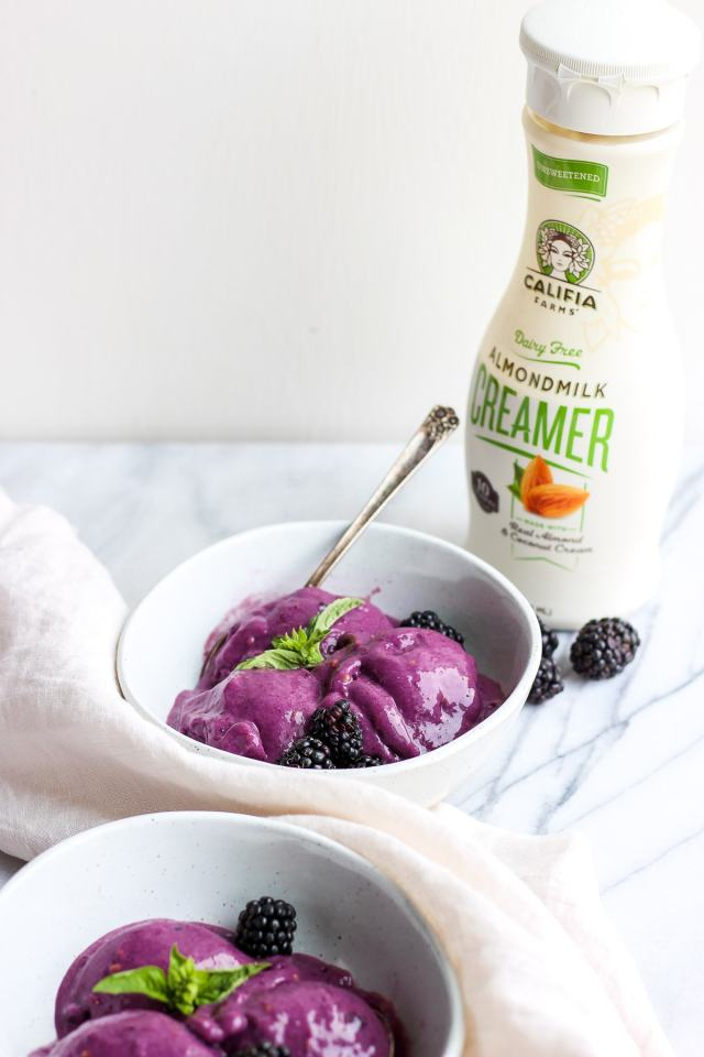 Creamy Blackberry Basil Nice Cream