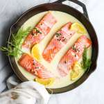30 Minute Creamy Lemon Caper Salmon Skillet
