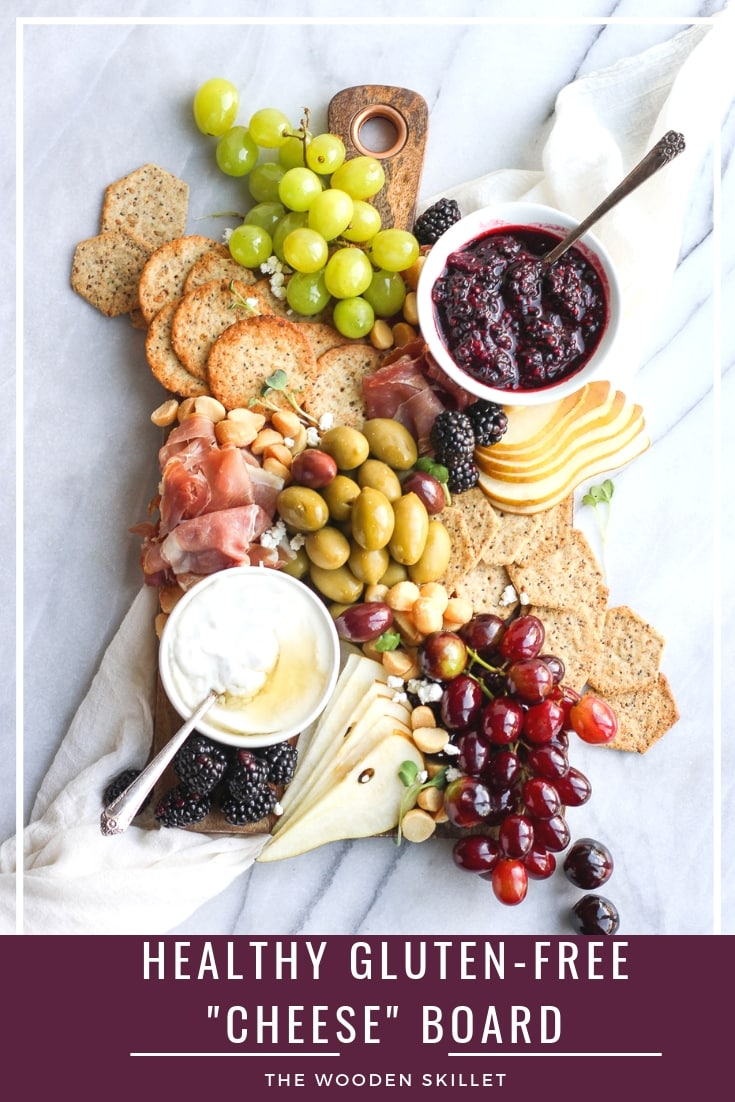 "Healthy Gluten-Free ""Cheese"" Board - a fun and delicious option that is grain-free, gluten-free and can easily be dairy-free! Nothing like a fun grazing table for dinner (date night!) and can be the perfect appetizer for your next party or Game Day! #grazingtable #cheeseboard #charcuterie #appetizer #holidayrecipes #holiday"