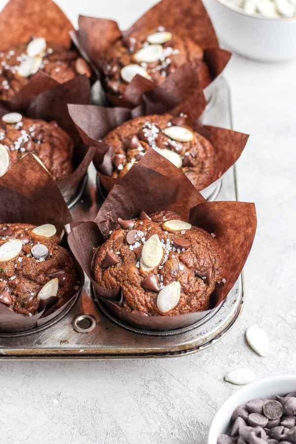 Healthy Chocolate Pumpkin Zucchini Muffins