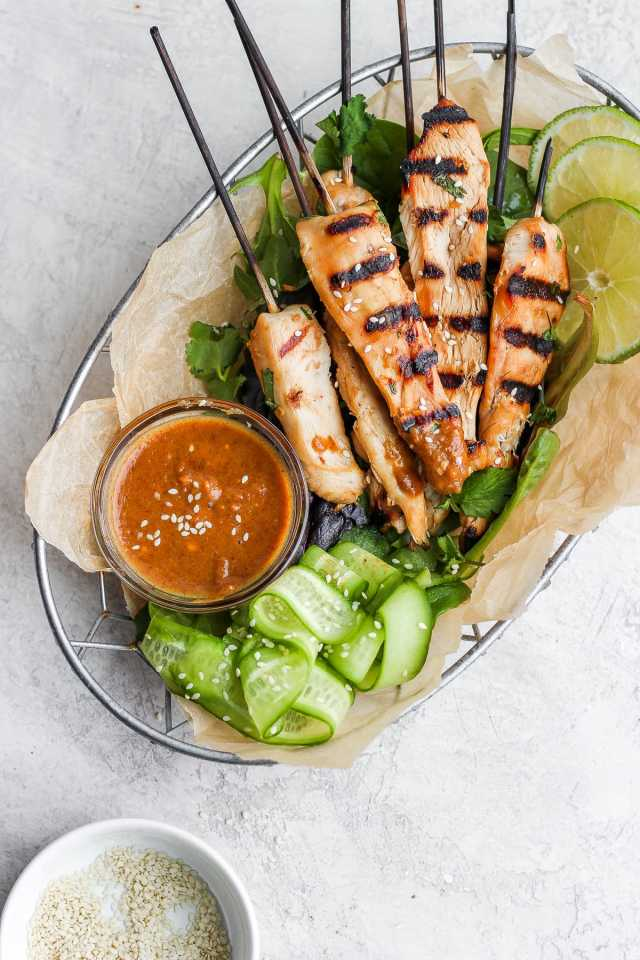 Thai Chicken Skewers with Creamy Almond Sauce