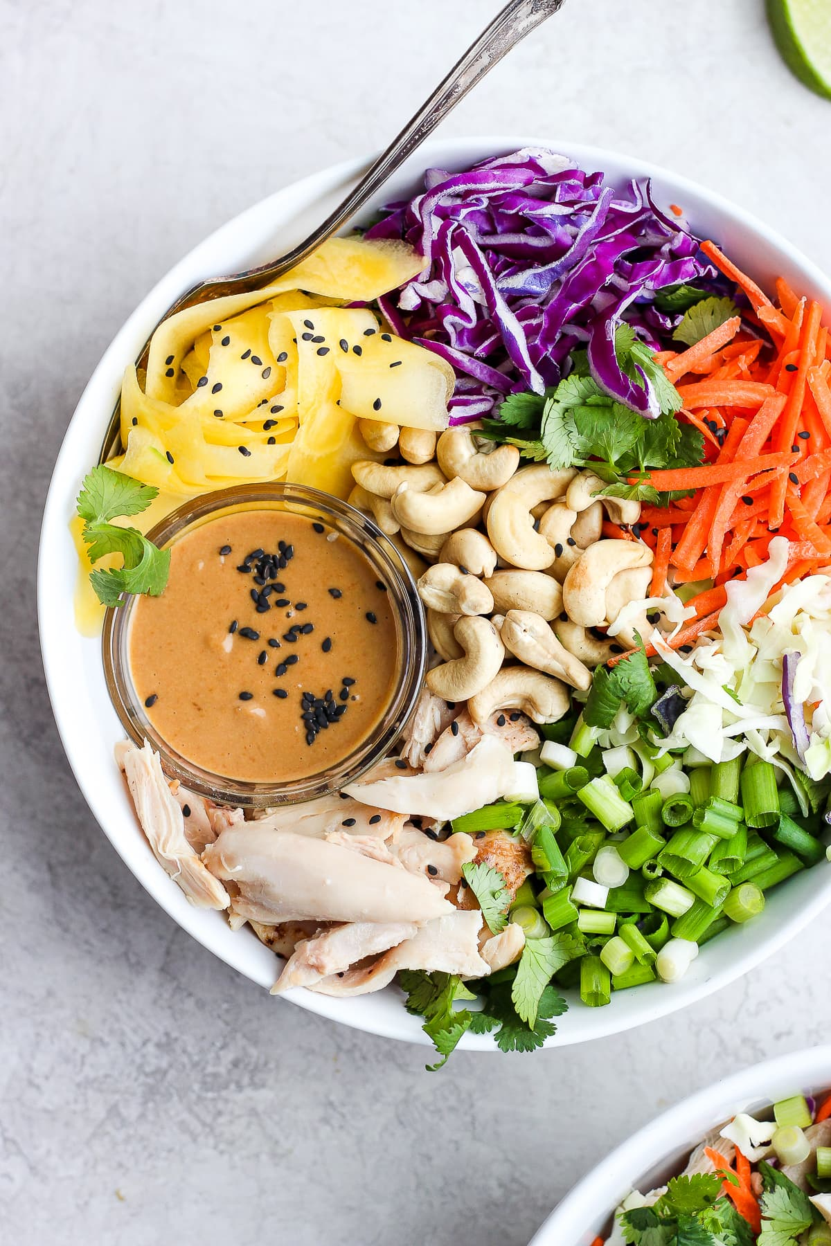 20 Minute Asian Chopped Rotisserie Chicken Salad - perfect for those nights when you have nothing else planned! #easyweeknightdinner #whole30recipes #whole30salad #choppedsalad #chickensalad #dairyfreerecipes #paleorecipes #30minutedinner