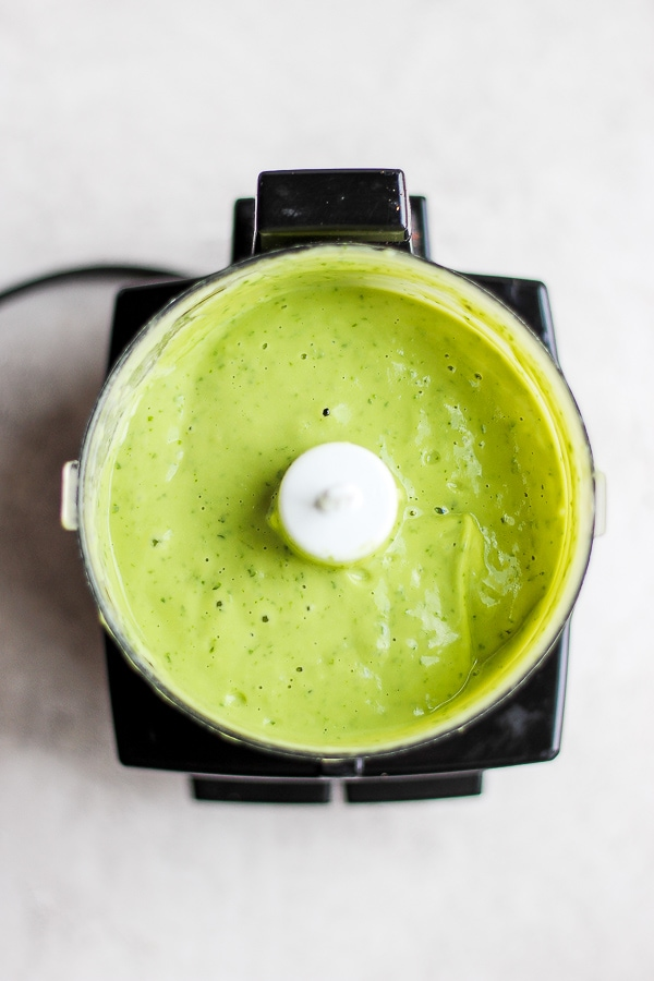 Creamy Avocado Sauce + Roasted Head of Cauliflower - a creamy, delicious avocado sauce that is dairy-free, Whole30, Paleo and plant-based!