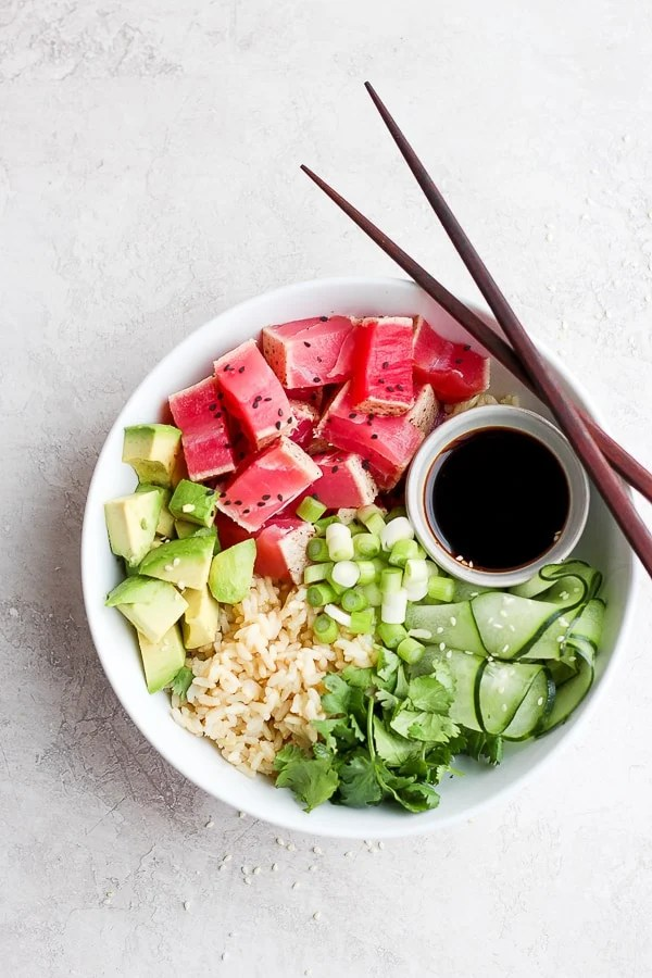 Pan Seared Tuna Rice Bowl (Gluten-Free + Dairy-Free) - a healthy and delicious lunch or weeknight dinner that comes together in minutes!