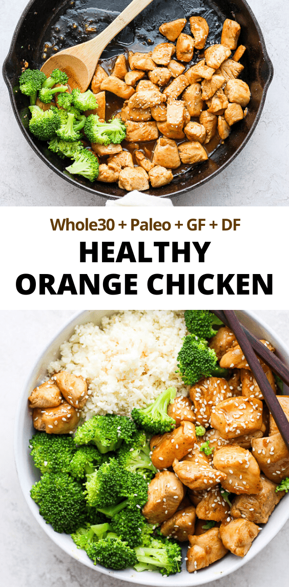 Healthy Orange Chicken - a simple and delicious weeknight dinner that your entire family will love!!  (Whole30 + Paleo + GF + DF) #healthyorangechicken #orangechicken #skinnyorangechicken #healthychickenrecipe #whole30dinner #paleodinner #easyweeknightdinner #healthydinnerrecipe