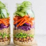 Quinoa Chickpea Salad + Creamy Peanut Dressing