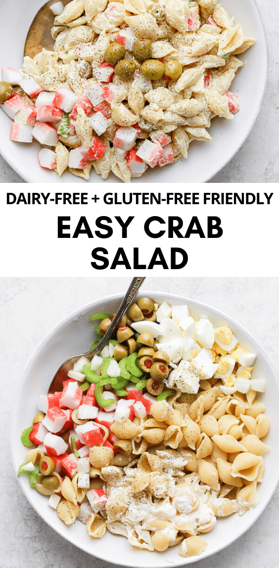 Crab Pasta Salad - a refreshingly light and delicious pasta salad. Perfect for your next cookout! (Dairy-Free, Gluten-Free) #crabpastasalad #dairyfreerecipes #glutenfreerecipes #easypastasalads #summerrecipes