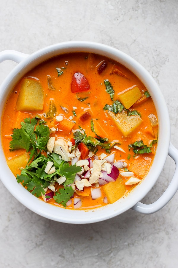 Easy Sweet Potato Curry in bowl with cilantro.