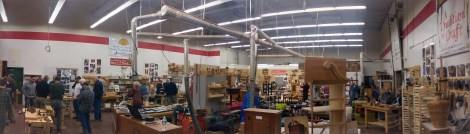 "Thanks to Google+ ""auto-awesome"", a panoramic of Connecticut Valley School of Woodworking. Lie-Nielsen area is on the left, and other vendor booths along back wall."