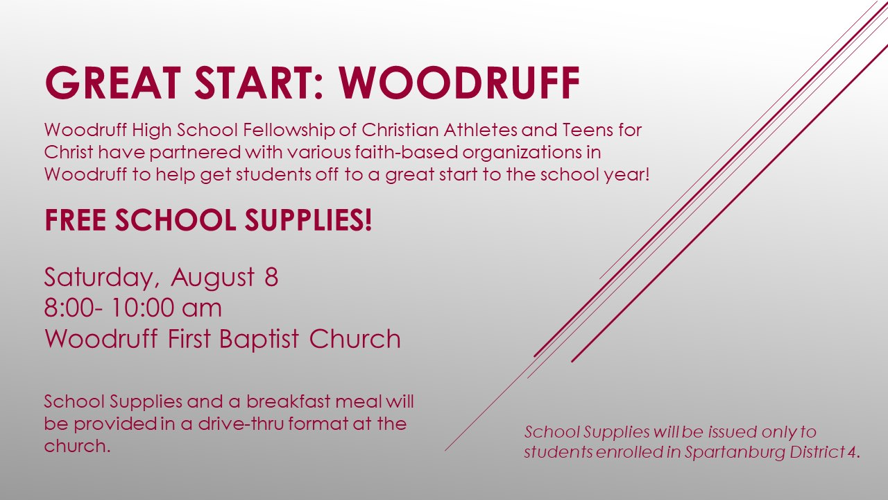 Great Start: Woodruff - School Supply Drive Saturday, Aug. 8