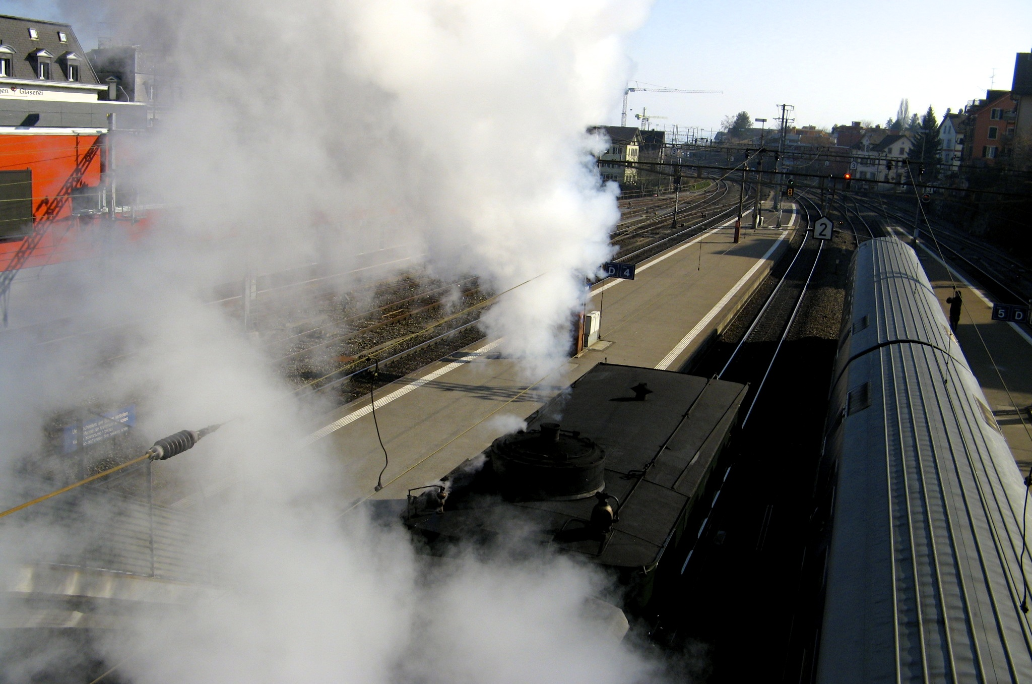 old-school steam train shot from above