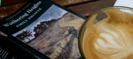 Wuthering Heights book with cup of coffee
