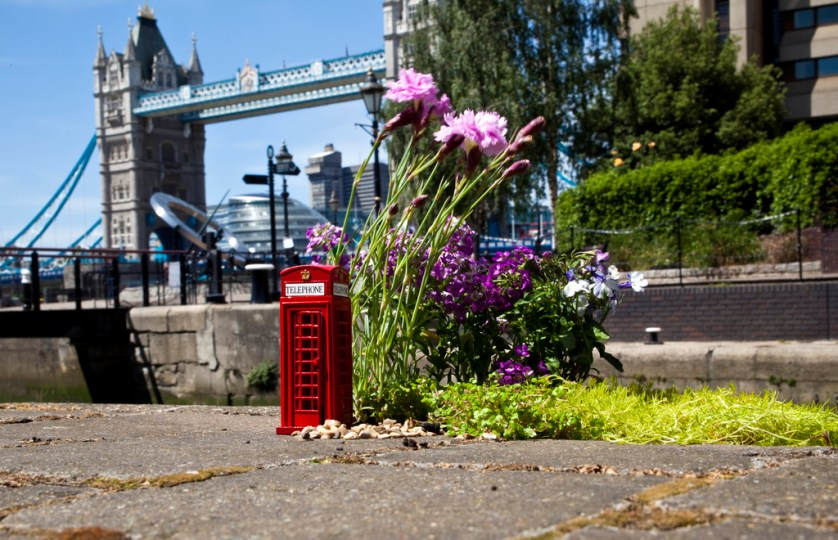 London bridge with miniature red phonebox