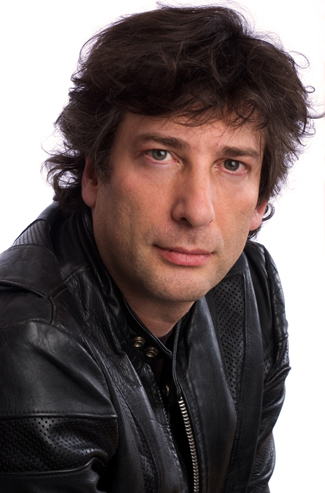 Neil Gaiman in black leather jacket