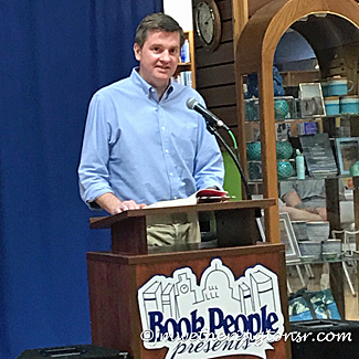 Charles Soule, author of The Oracle Year, reading and signing at Book People in Austin, Texas