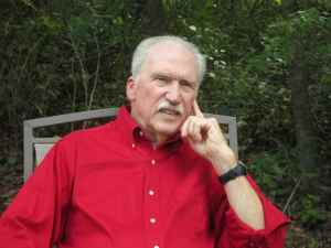 Author Phil Emmert - red shirt