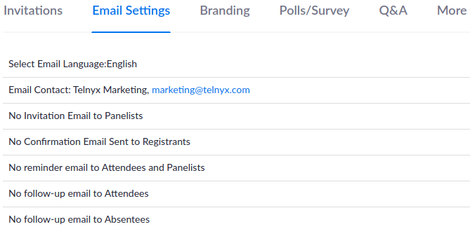 Zoom Marketo Integration email notification settings