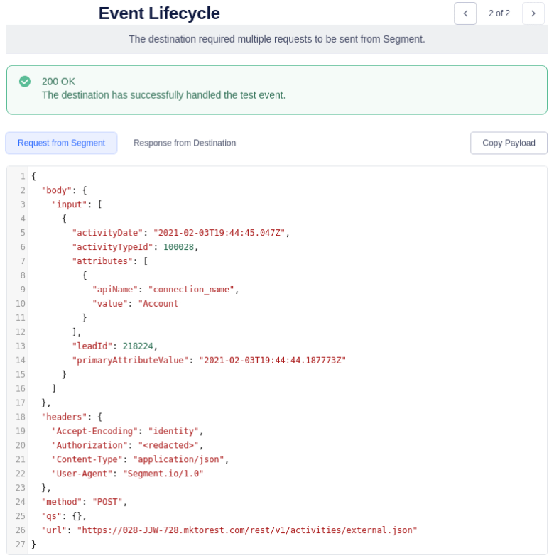 Segment Event Lifecycle Second Segment Request
