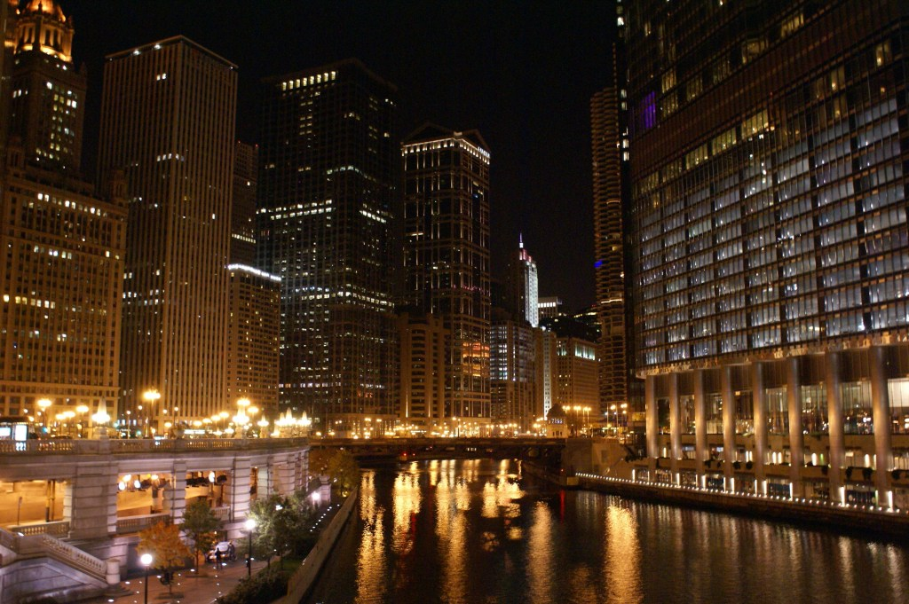 Nighttime photography practice on Michigan Ave. Bridge