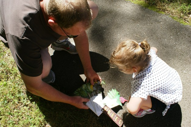 Consulting the field guide on the trail