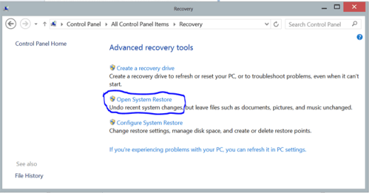 open system restore, action center recovery w8