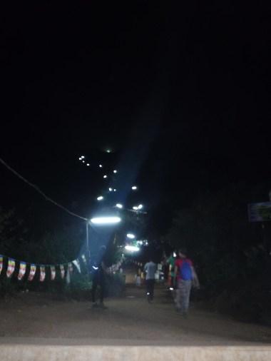 Lights marking the climb - a long way to go!