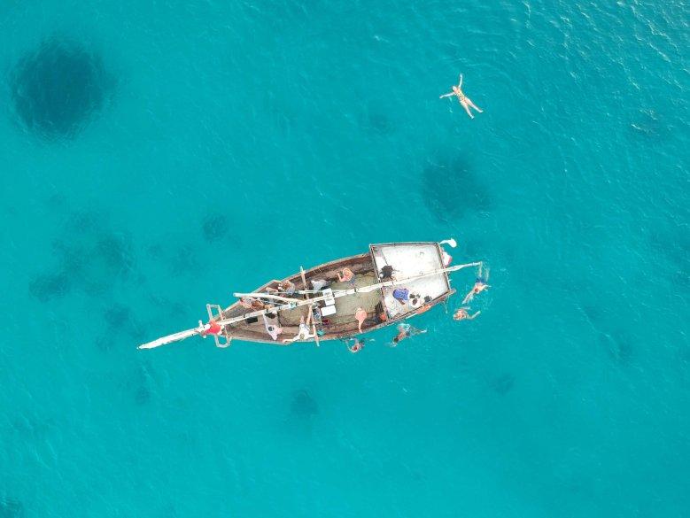 Drone shot - Sunset boat party Zanzibar
