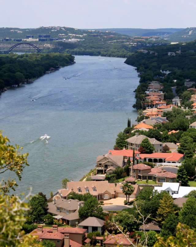 View of mansion along Colorado River from Mount Bonnell.
