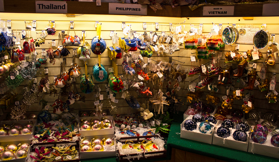 Philippines ornaments found at the world's largest Christmas store.