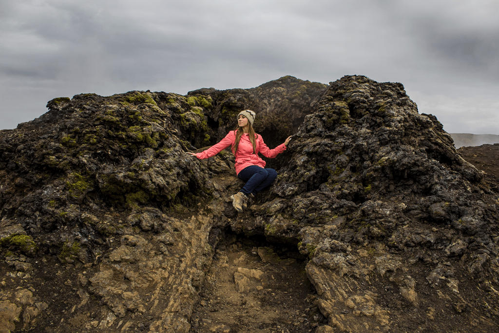 Day 5 stop of the Iceland Itinerary: a lava throne at Krafla fissure and crater row.