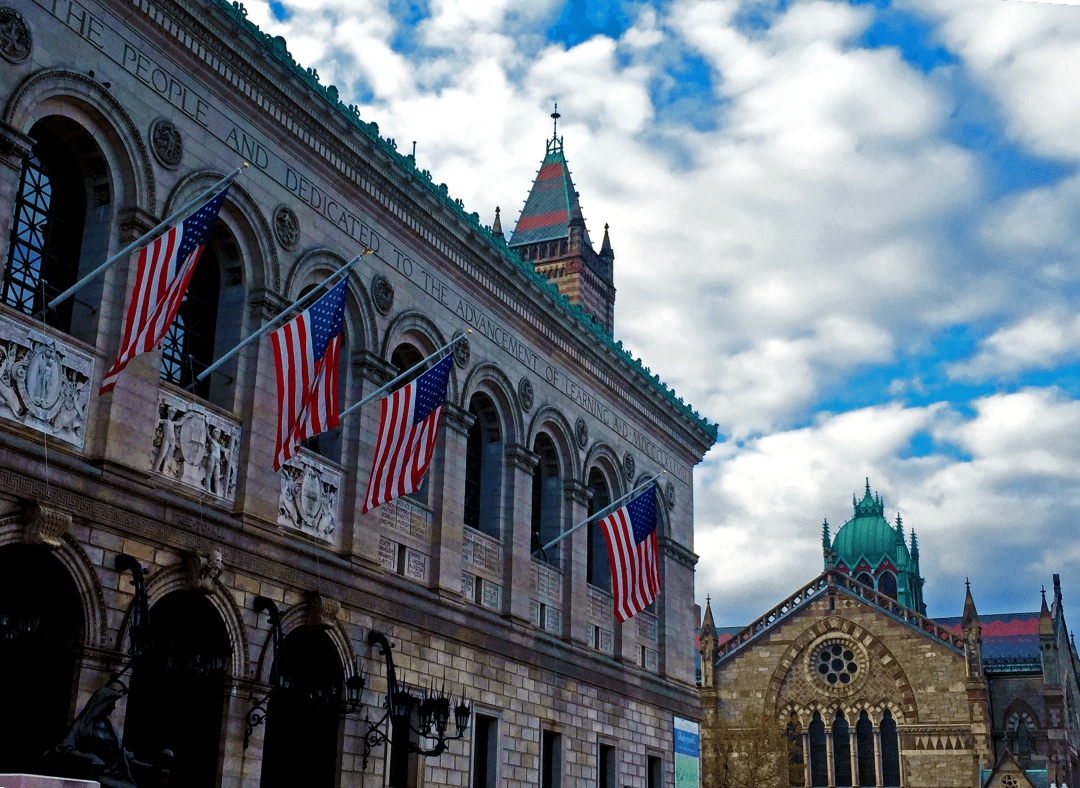 What to do in Boston? Visit the Boston Public Library on a partly-cloudy day.