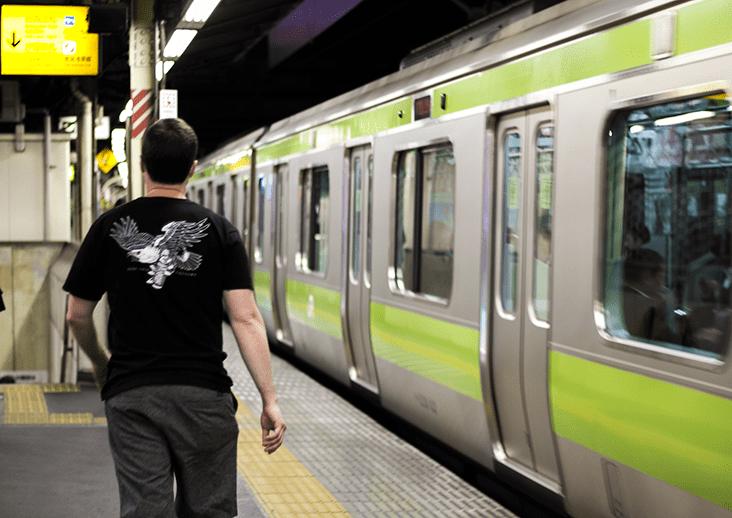 Embarking the Japan Rail in Tokyo.