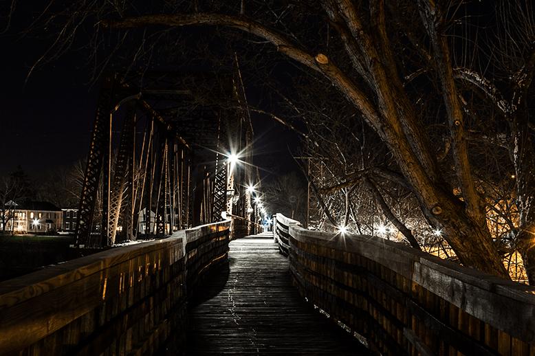 Marietta railroad bridge at night.