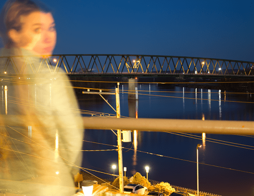 hunting for ghosts in Marietta - photo of Amanda in front of the Marietta-Williamstown Bridge.