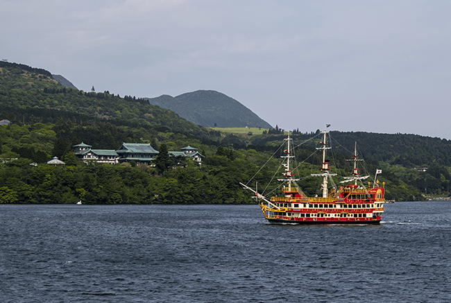 a boat on Lake Ashi in Hakone, Japan.