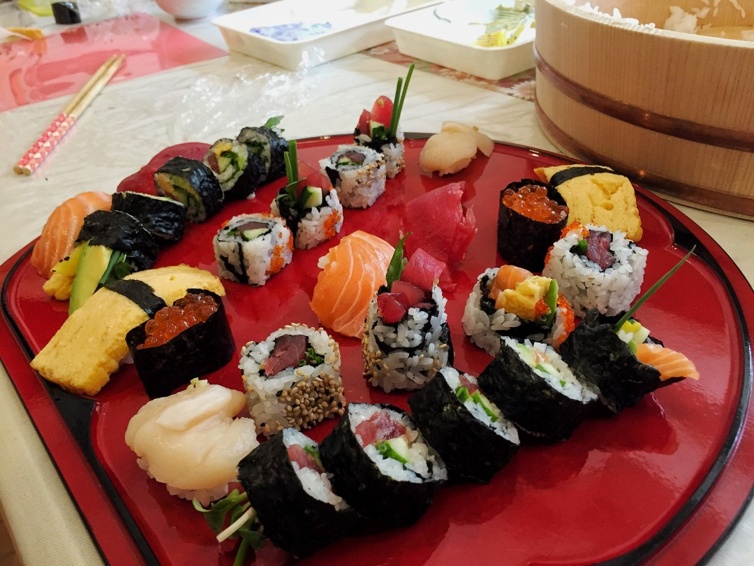 The results of our sushi making class in Tokyo.