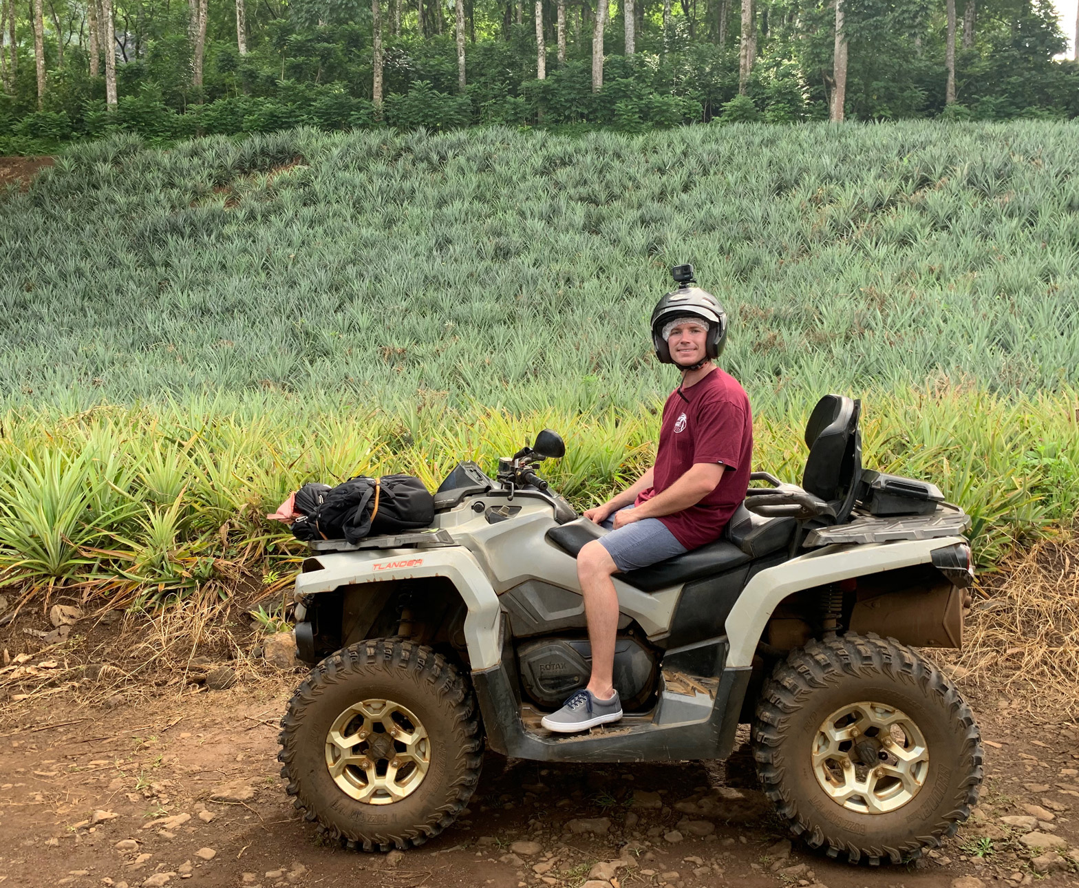 ATV Tour with Albert Tours in Moorea through the pineapple fields.